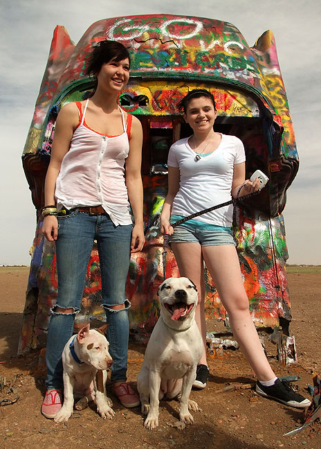 Two passing tourists and their dogs at the Cadillac Ranch.