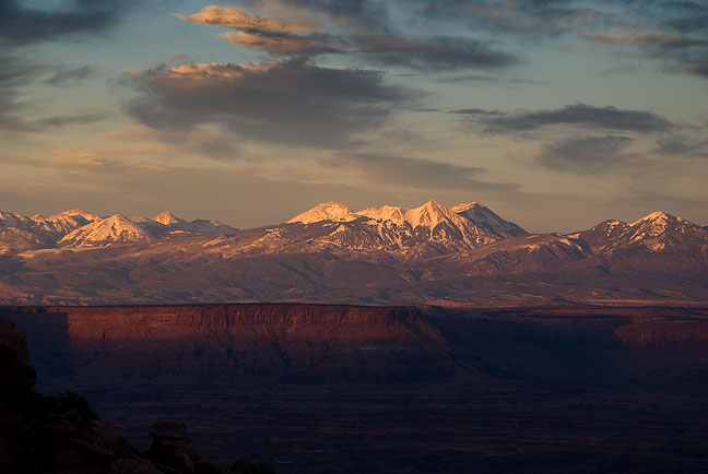 Last light on the La Sal Mountains viewed from Grand View Point, Canyonlands.