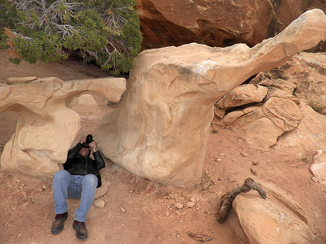 "Robert photographs ""Frick"" and ""Frack"" on the Pothole Point trail."