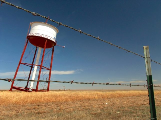 "This is the famous ""Leaning Tower of Britten,"" in the Texas panhandle. It was one of our first stops."