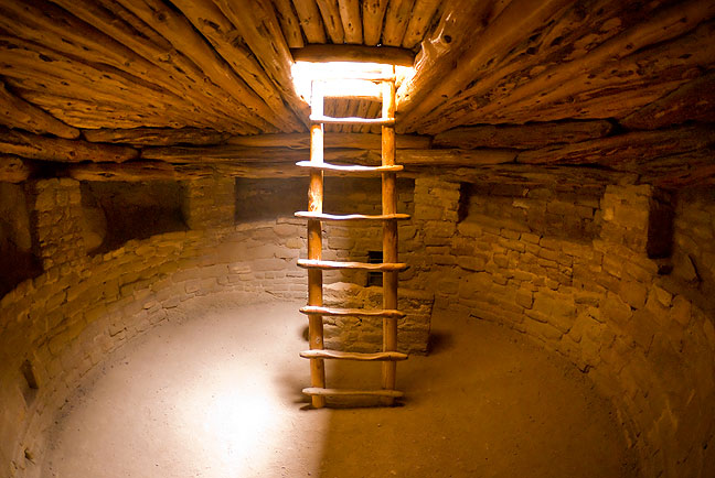 Fisheye view from inside the restored great kiva at Spruce Tree House.