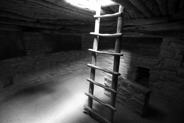 This is a fisheye view inside the restored great kiva at Spruce Tree House.