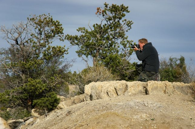 Here is another frame of me battling the breeze to make pictures at Angel Peak.