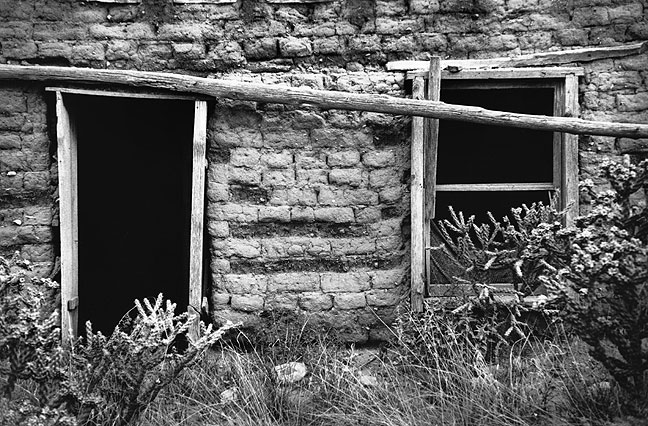 Door and window, abandoned adobe building, Villanueva, New Mexico.