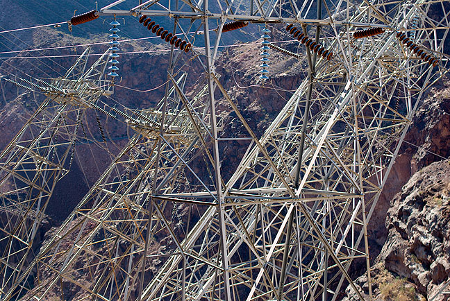 These towers hold power lines that carry Hoover Dam's hydroelectric power to its destination.