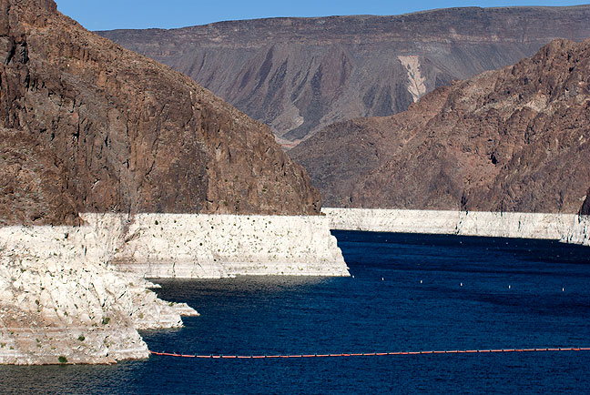 This view of Lake Mead upstream of Hoover Dam shows how drought has affected this reservoir.