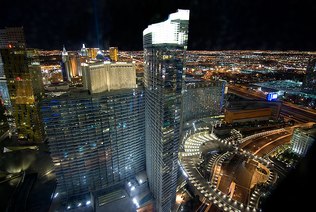 This view of Las Vegas looks south toward The Aria, The Monta Carlo, and The Luxor.
