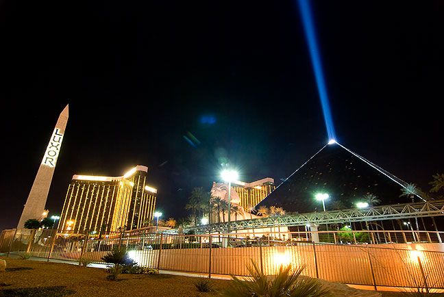 The Luxor Las Vegas Hotel shows its signature pyramid and light beam.