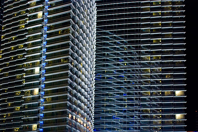 The elegant lines of The Aria Hotel are an interesting contrast to the sometimes garish look of Las Vegas.
