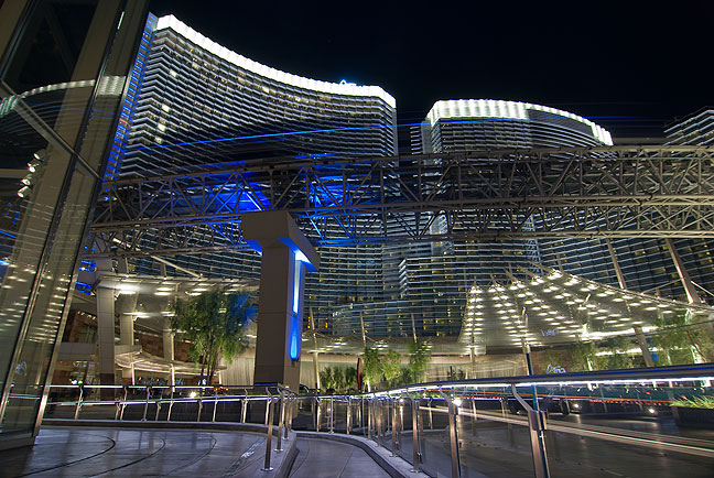 Another view of The Aria; in this image you can see the tram blur past on the tracks above the street.