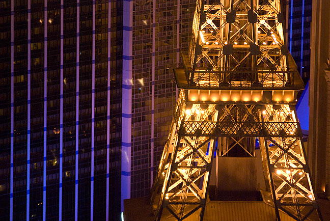 The Paris Las Vegas and Bally's combine in this colorful rendition from 48 floors up.