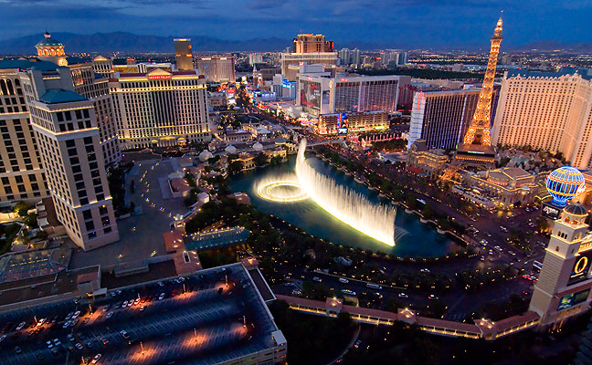 The beautiful Las Vegas Strip viewed from our balcony shows the famous Bellagio Fountains.