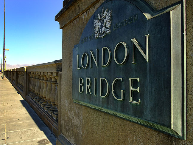 This sign and the lamps on Lake Havasu City's London Bridge are original just like the bridge itself.