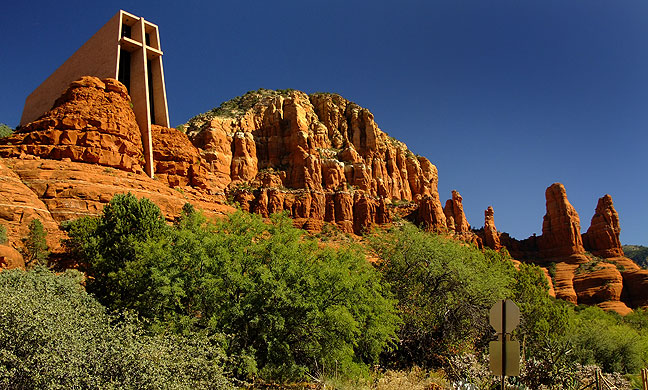 The Chapel of the Holy Cross sits in a cliff that overlooks Sedona, Arizona.