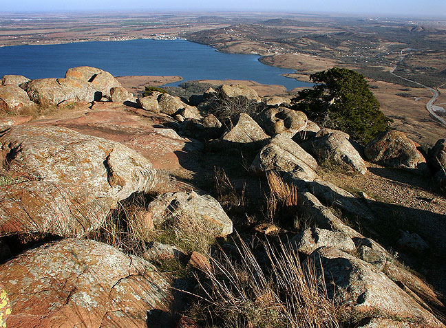 This view looking east from Mount Scott shows Lake Lawtonka, December 2004.