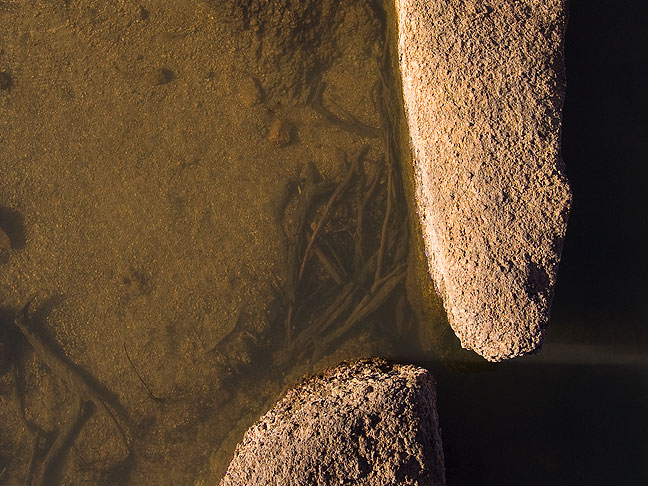 Stones and water, Quanah Parker Lake, January 2012.
