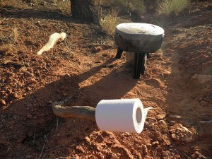 """The National Park Service requires visitors to The Maze to bring their own portable toilets and bring out all human waste. I got this little port-a-poo at Wal Mart, along with six extra """"Double Doody"""" disposal bags, and removal was quick and clean."""