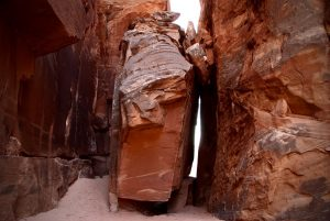 Hiking to surprise valley through the Doll House takes you through giant fissures that almost resemble caves.