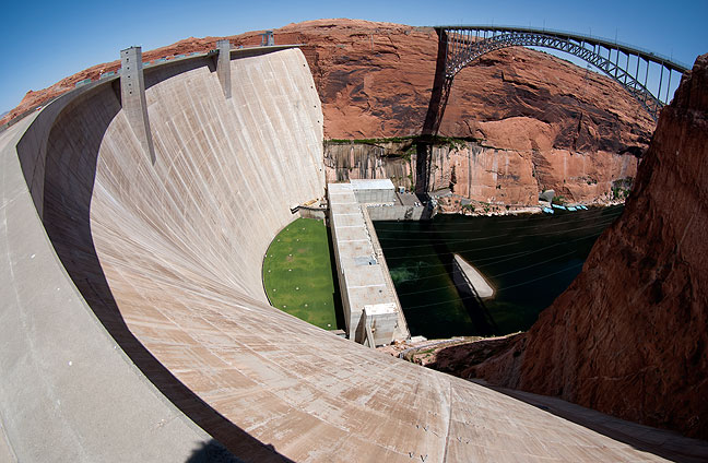This fisheye view of Glen Canyon Dam looks southeast toward Page, Arizona.