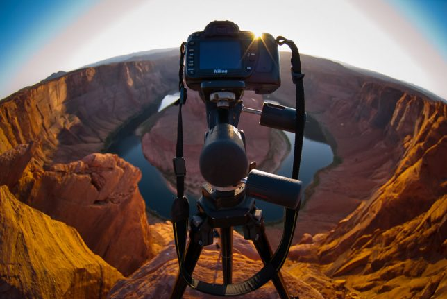 My camera stands on a tripod, ready to photograph the changing light at Horseshoe Bend.