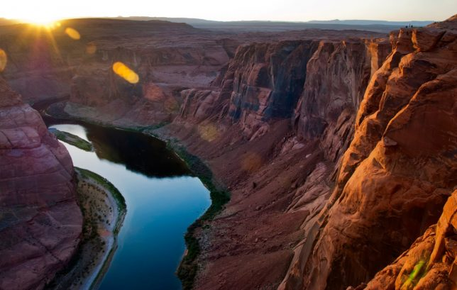 This view of Horseshoe Bend look northwest. Note the tiny figures of people on the top right corner of the frame.