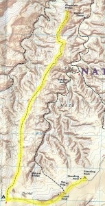 This map shows the route, entirely on slickrock on a ridge above two canyons, to The Chocolate Drops. (Click, then click again to see it larger.)