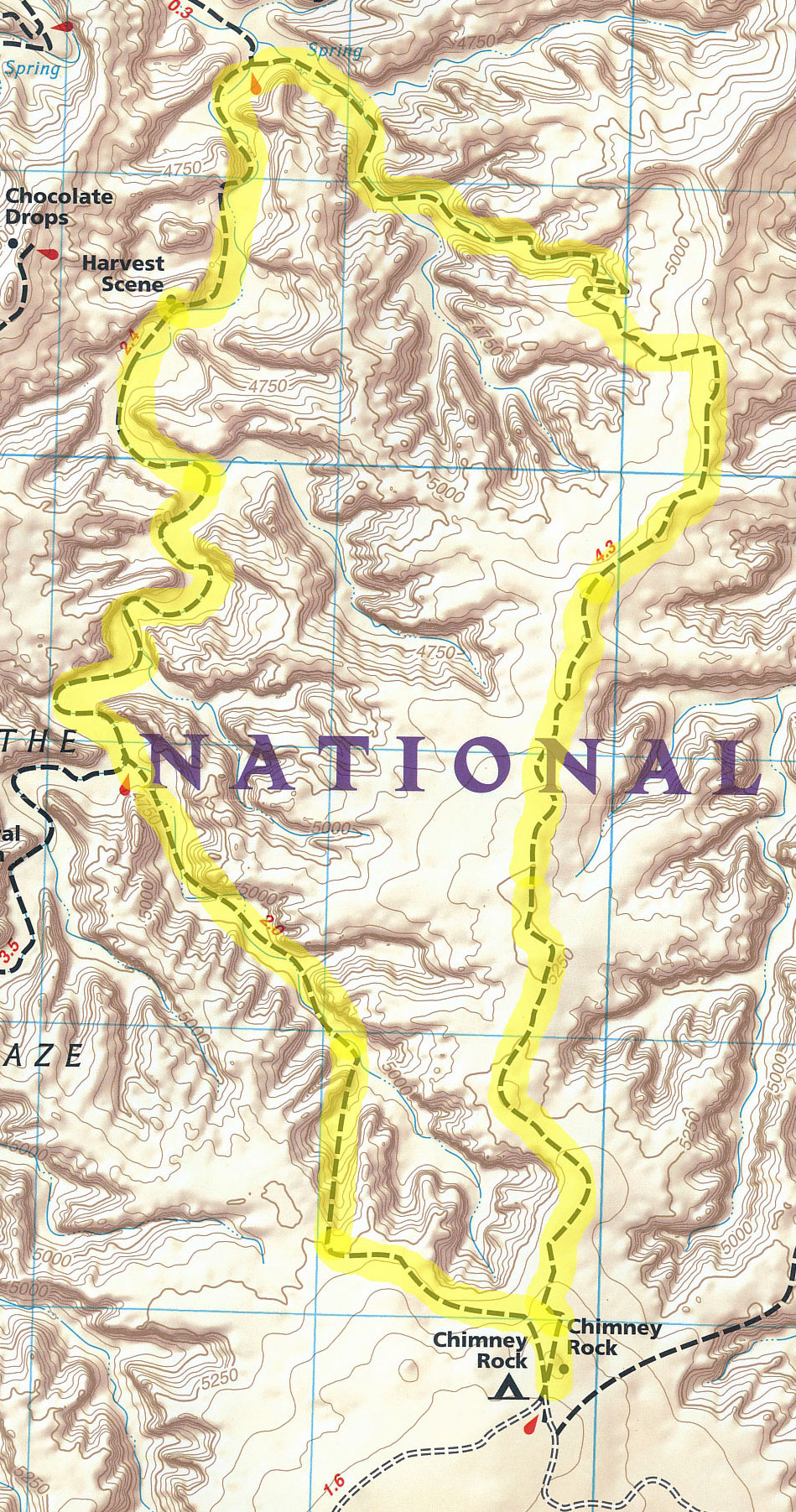 This map shows the loop trail to the Harvest Scene pictograph panel