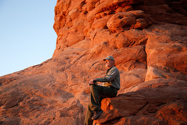 Jim photographed me at last light in the opening of Turret Arch at Arches National Park, an iconic image of me in one of my favorite places.