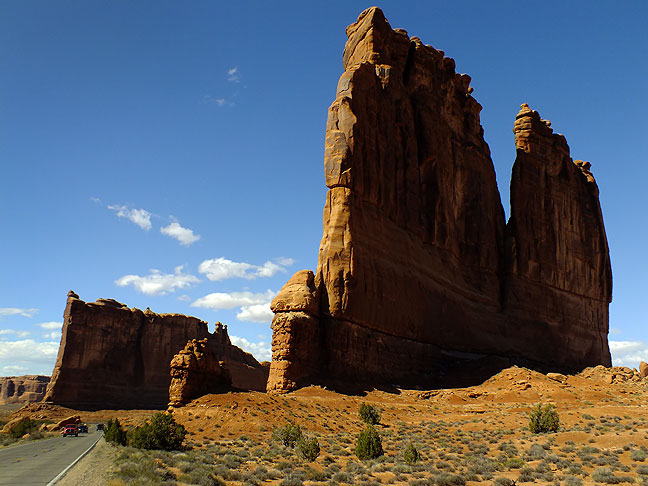 One of the most impressive things visitors encounter early in their views of Arches National Park is the Courthouse Towers.