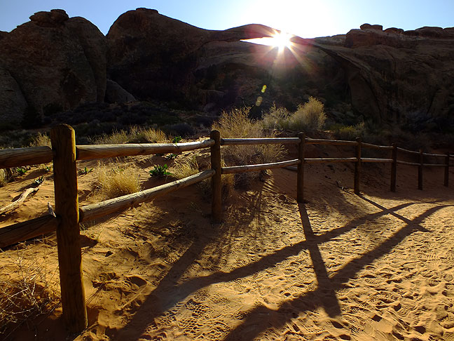 Jim and I both worked this image of the fence near Landscape Arch; we both immediately recognized the light and the leading lines.