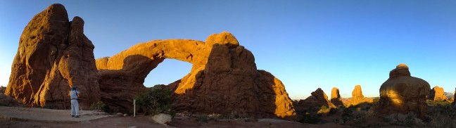 This panograph shows the South Window and spires of Arches National Park beyond. (Click, then click again to view larger.)