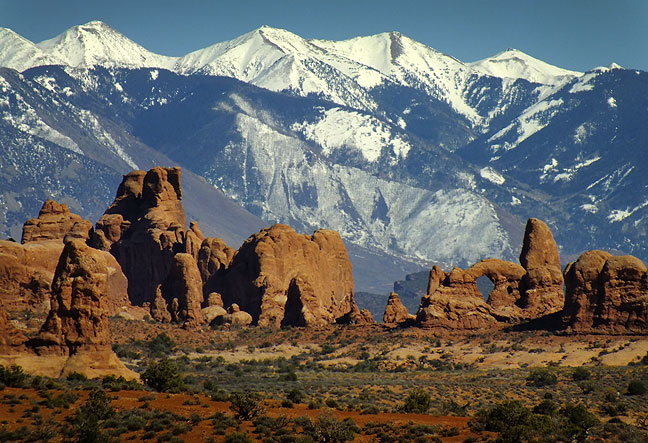 Even though I have made an image just like this one on at least one previous trip, I still think this supertelephoto view of The Windows section of Arches National Park with the La Sal Mountains in the distance is spectacular.