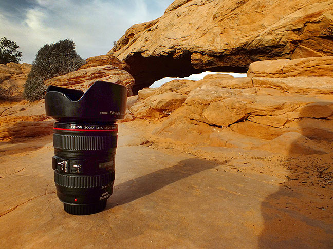 One of Jim's lenses sits on the ground near Mesa Arch at Canyonlands National Park.