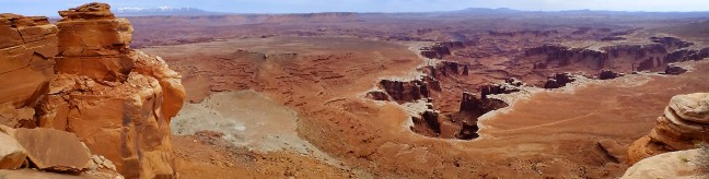 This panograph looks southeast from the White Rim Overlook, toward Monument Basin, Hatch Point, and the Abajo Mountains. (Click, then click again to see it larger.)