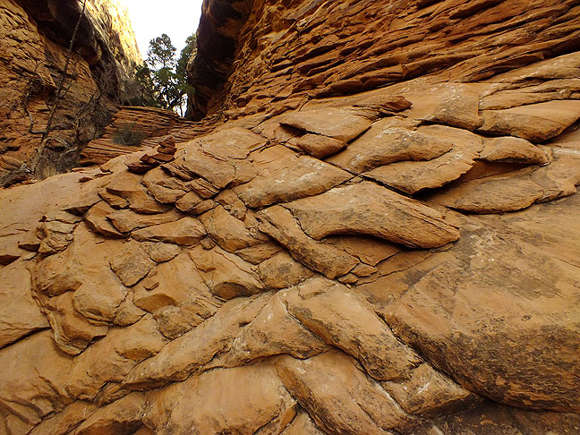 This kind of stratigraphy is found throughout the Needles District at Canyonlands; this image was made on the Chesler Park trail.