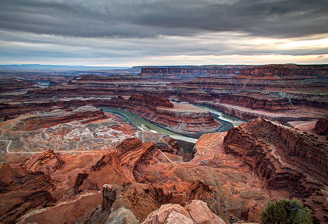 This high dynamic range image from Dead Horse Point shows the late afternoon view looking southwest toward Canyonlands National Park.