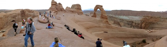 Panorama of Delicate Arch in Arches National Park, Utah; Jim is on the left side of the frame in grey. (Click, then click again to view larger.)