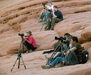 The usual passel of photographers gather at Delicate Arch as afternoon turns to evening, despite completely disappointing light.