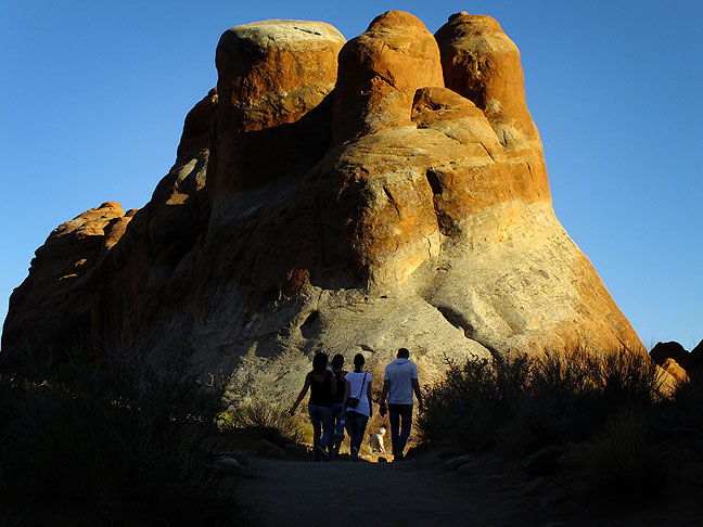 Hikers of all skill levels enjoy the easy stroll through the Devil's Garden section of Arches National Park.