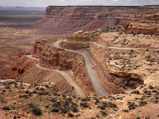 The Moki Dugway is a steep gravel section of Utah State Highway 261. After ascending it the first time in 2003, Abby and I started calling each other by the nicknames Moki or Dugway or some combination of the two, which we still do to this day.