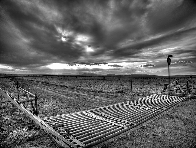 Jim and I stopped a couple of times on the first day to shoot landscapes, including this high dynamic range image of a cattle guard and the desert sky south of Santa Fe.