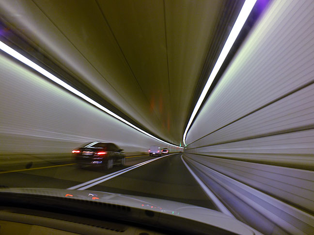 This image is a one-half-second exposure made as Tom and I drove through an Interstate highway tunnel under Chesapeake Bay.