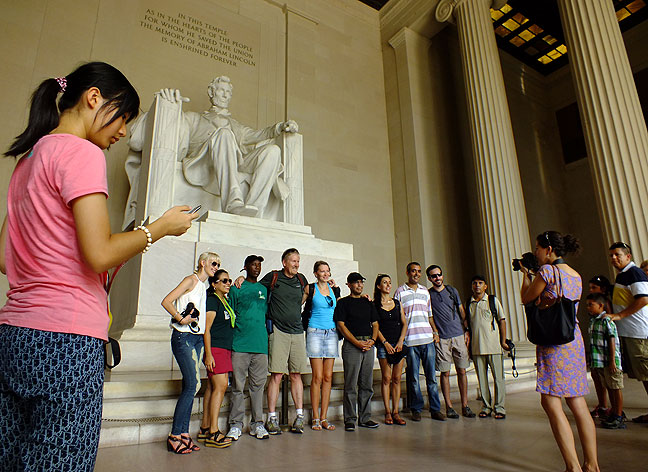 The Lincoln Memorial was crowded and noisy, but I still enjoyed stopping there.