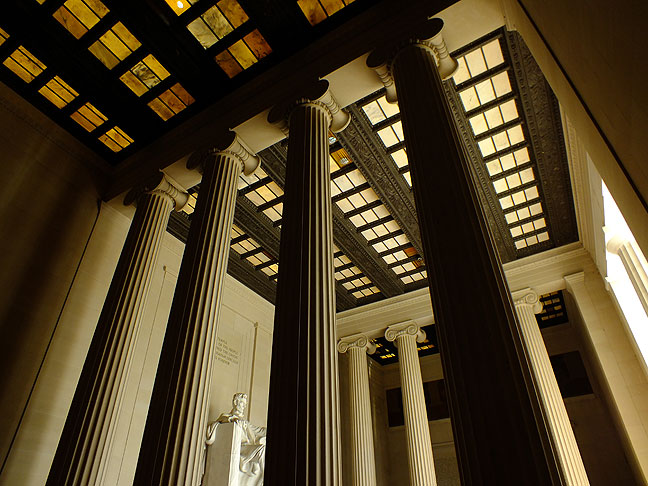 The towering pillars of the Lincoln Memorial's interior create a sense of isolation and awe.
