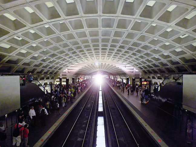 A train arrives at L'Enfant Plaza of Washington, D. C.'s excellent Metro subway system. It was my second opportunity to photograph The Metro in 28 years.