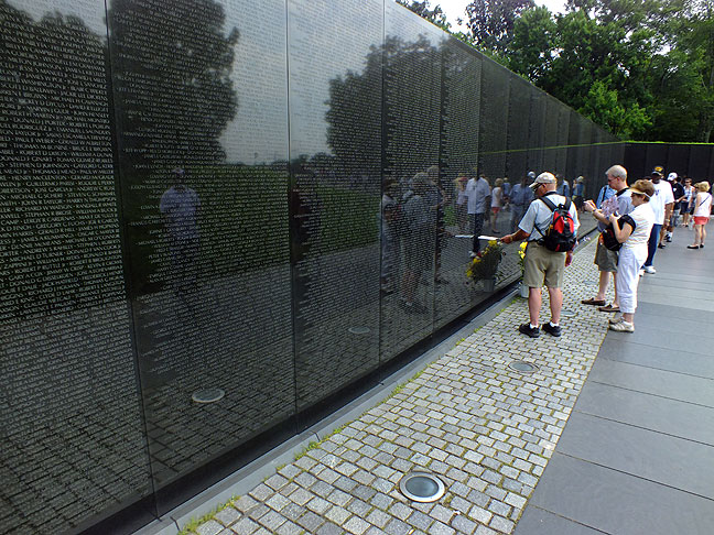 This was as thin as the crowd ever got at the Vietnam Veterans Memorial. I felt crowded and rushed the entire time.