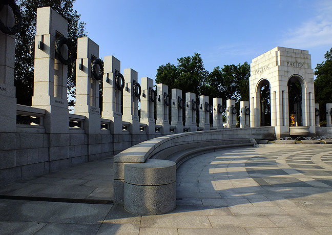 The south end of the World War II Memorial is dedicated to the war in the Pacific.