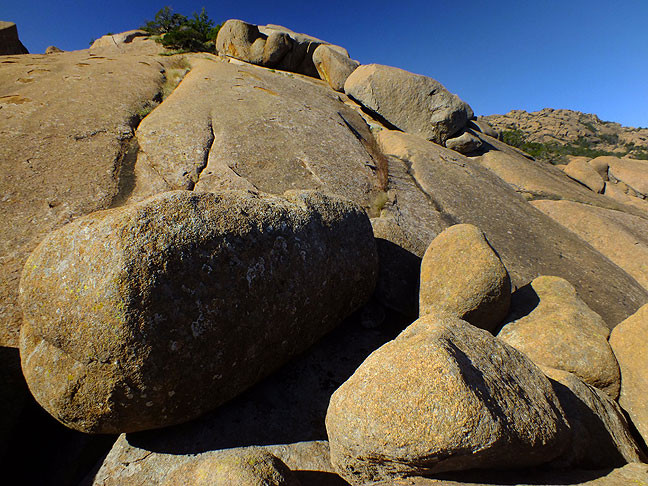 A boulder field forms a natural playground in the Glacier Rocks area.