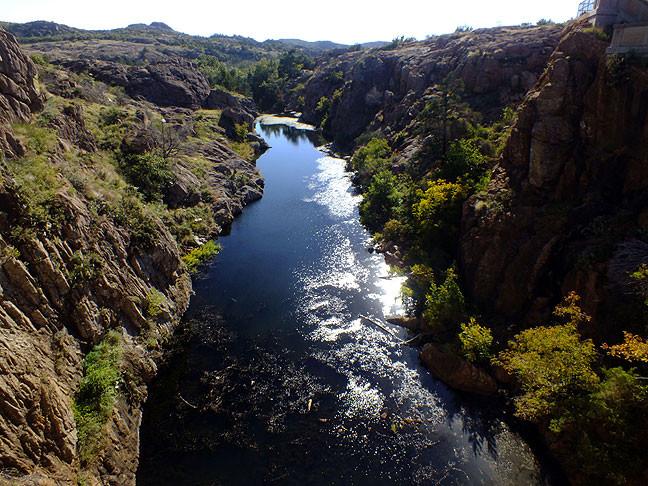 This is Quanah Creek below Quanah Parker Lake Dam.