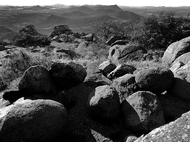 This hazy view from the summit of Mount Scott looks west, and I feel the black-and-white rendition more dutifully expressed the tonal qualities of the afternoon light.